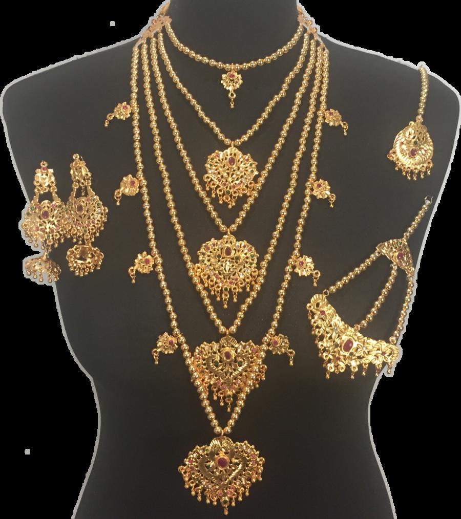 traditional golden pakistani bridal jewellery set BRD0362