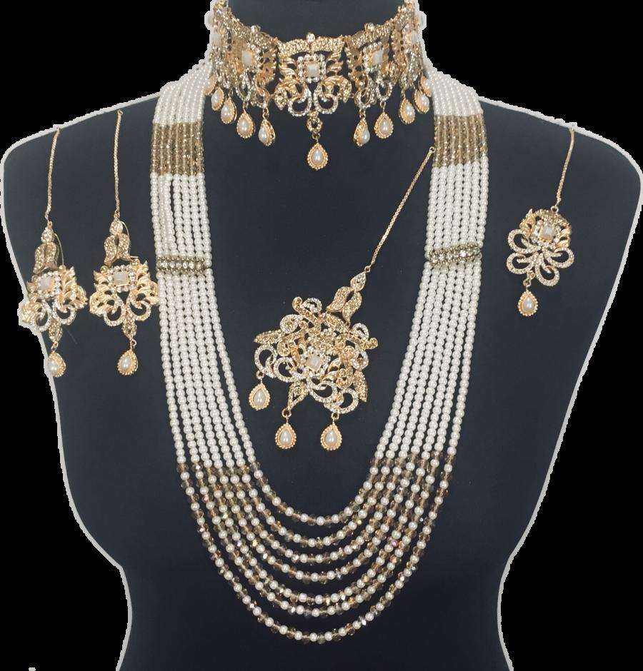 pearl gold plated pakistani bridal jewellery set BRD0363