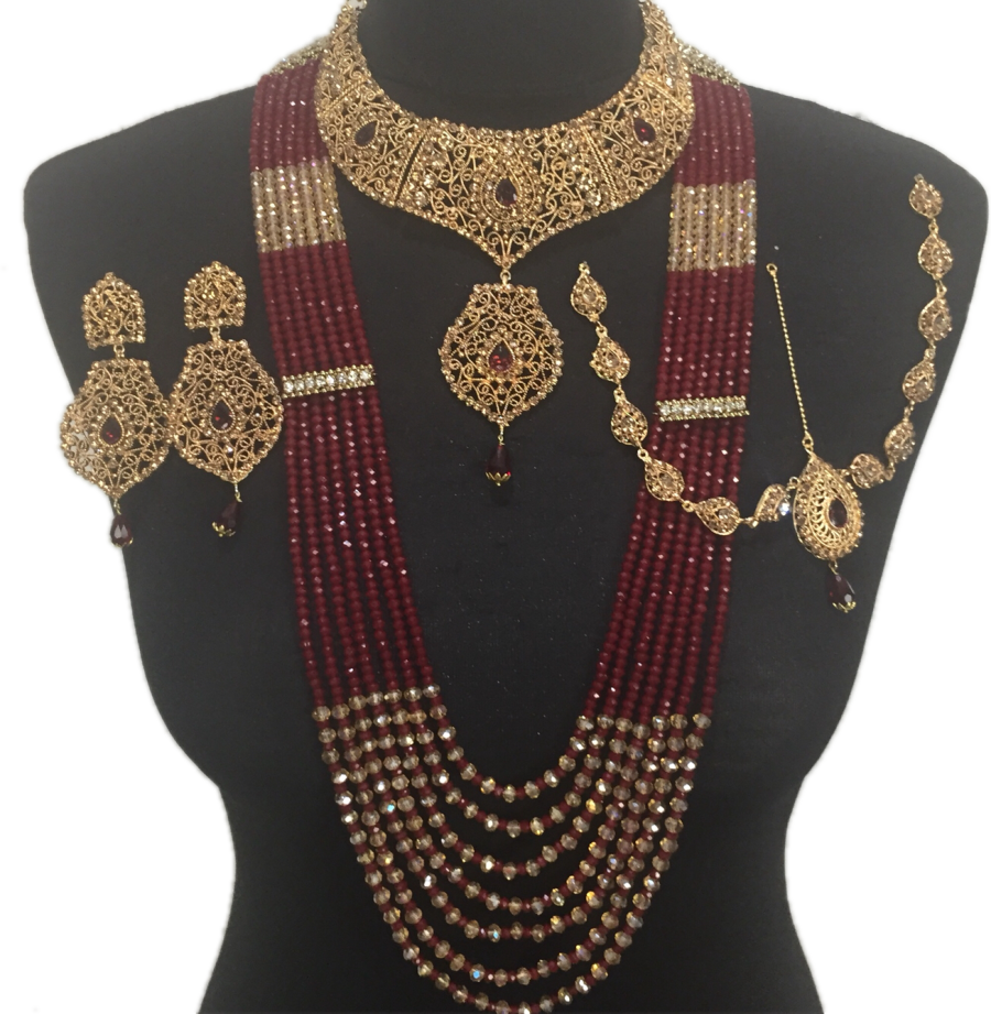 matha patti maroon gold bridal jewellery set BRD0364