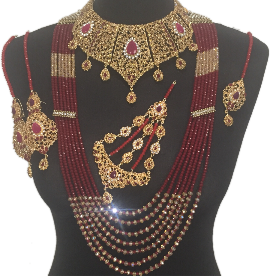 golden red pakistani bridal mala jewellery set BRD0365