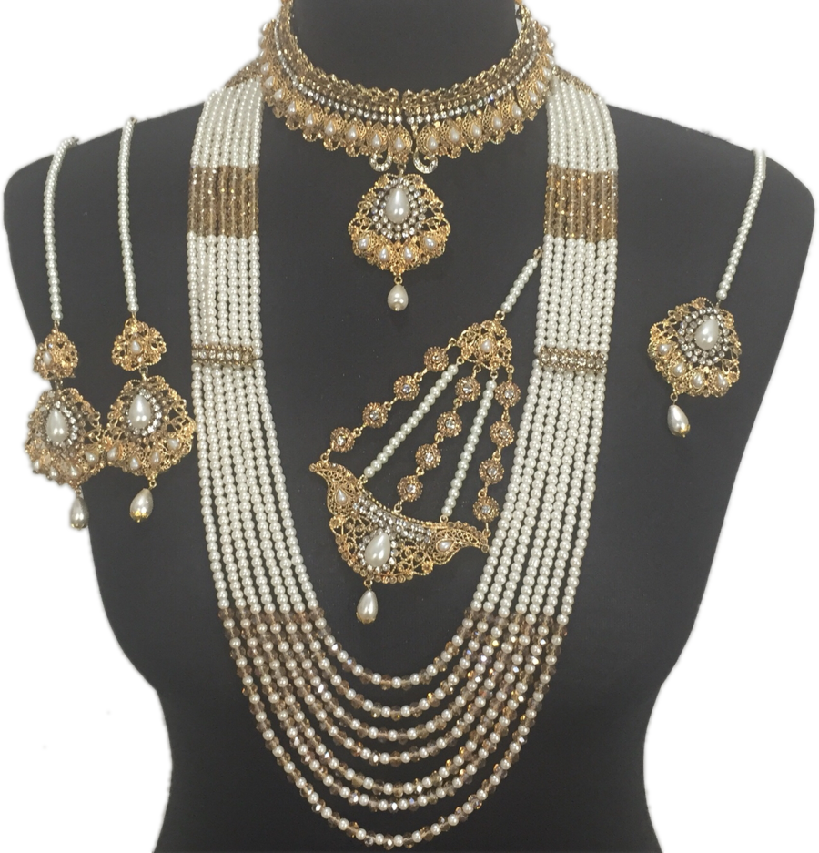 pearl antique golden pakistani bridal jewellery set BRD0368