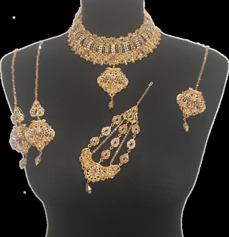 golden pakistani bridal jewellery set BRD0369