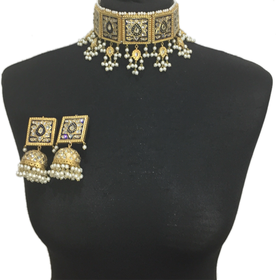 gold plated pakistani meena jhumka jewellery set NCK0418