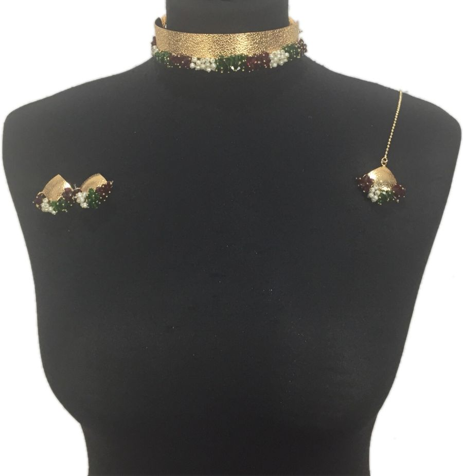 green red pakistani choker jewellery set NCK03419