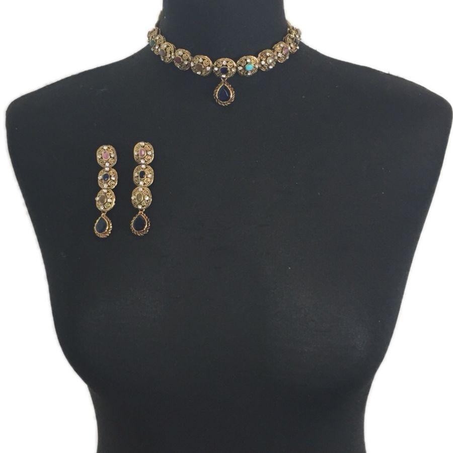 multicoloured pakistani jewellery set NCK0422
