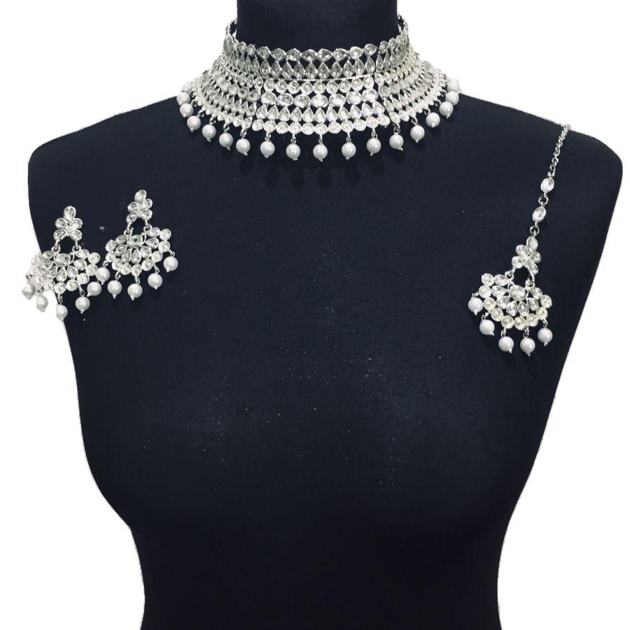 silver kundan style necklace set NCK0423