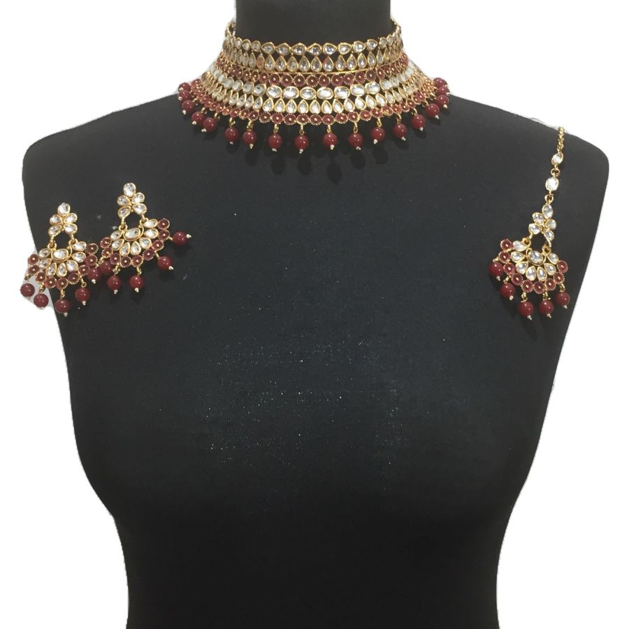 red kundan style necklace set NCK0424