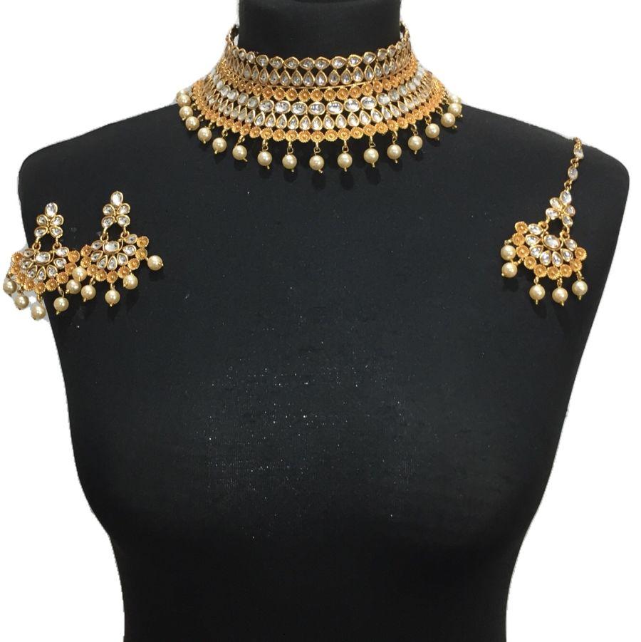 golden kundan style necklace set NCK0425