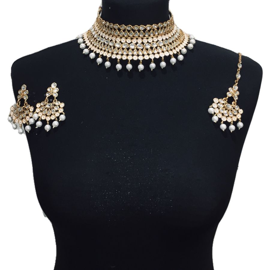 golden kundan style necklace set NCK0426