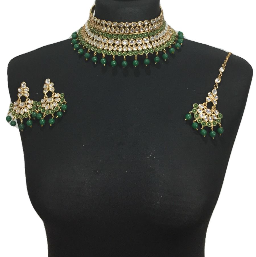 green kundan style necklace set NCK0427