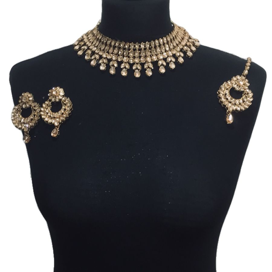 champagne necklace set NCK0429