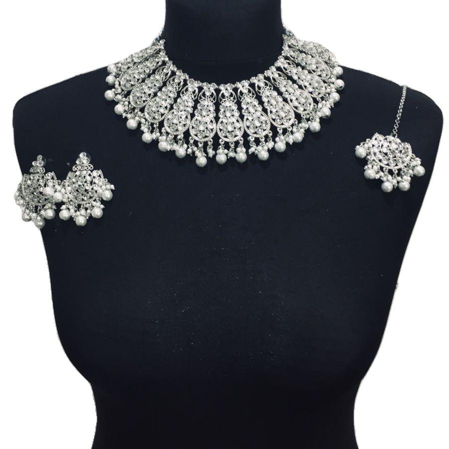 silver necklace set NCK0434
