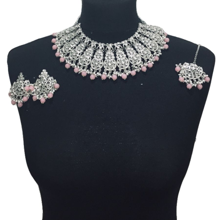silver pink necklace set NCK0437
