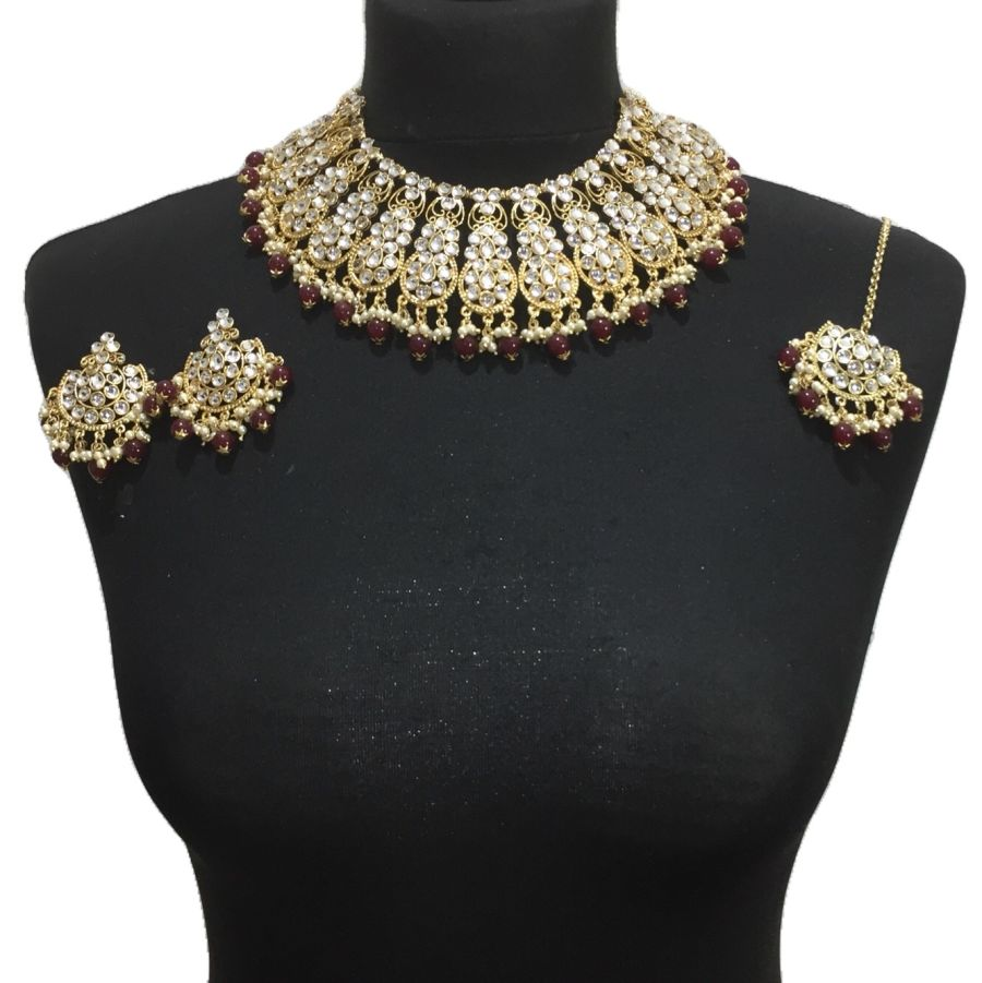 maroon gold necklace set NCK0438