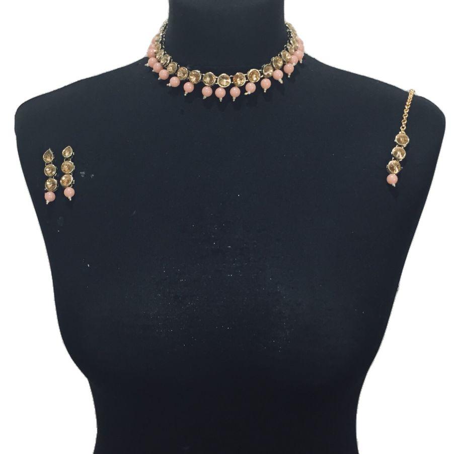 peach necklace set NCK0460
