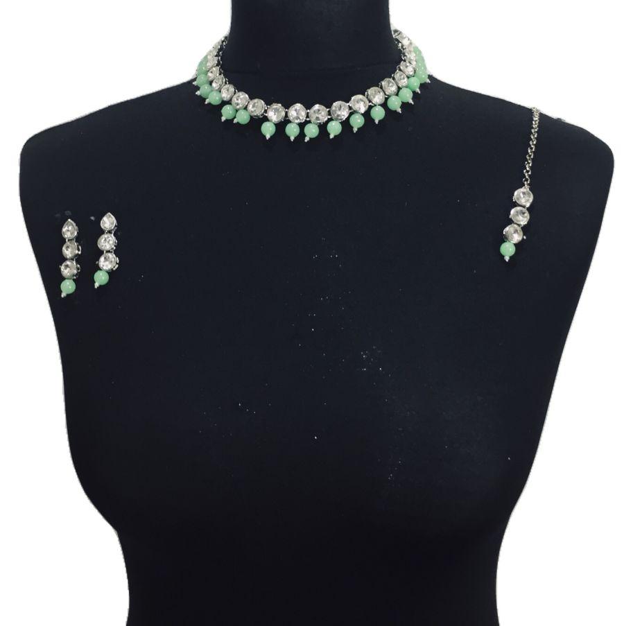 silver mint necklace set NCK0462