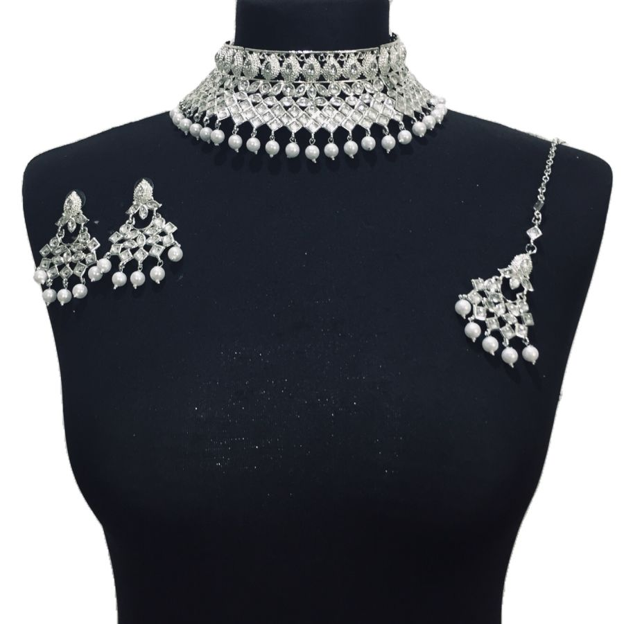 silver kundan style necklace set NCK0467