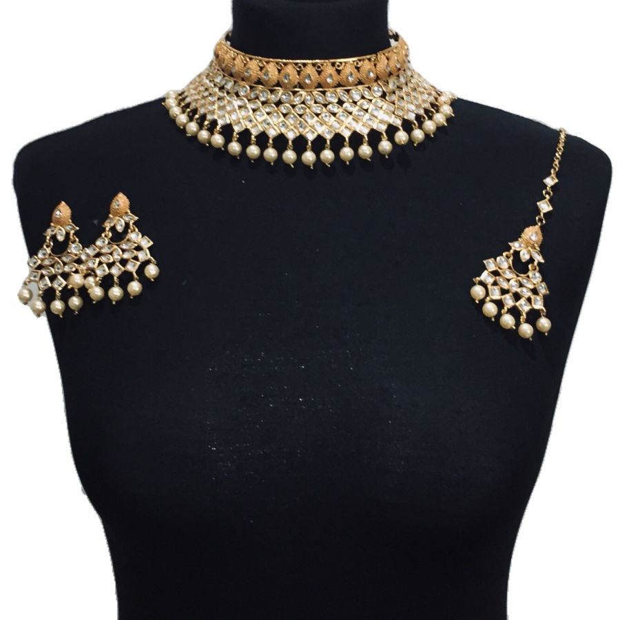 golden kundan style necklace set NCK0468