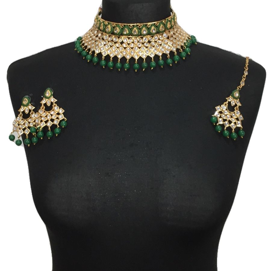 green kundan style necklace set NCK0470