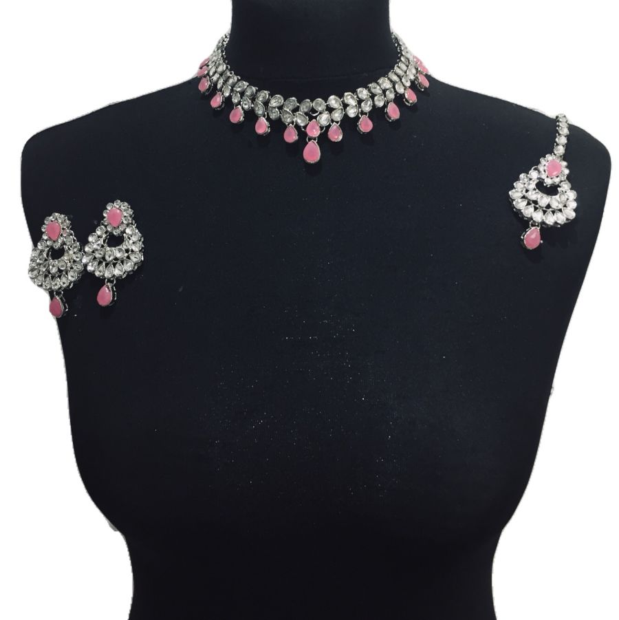 silver pink necklace set NCK0473
