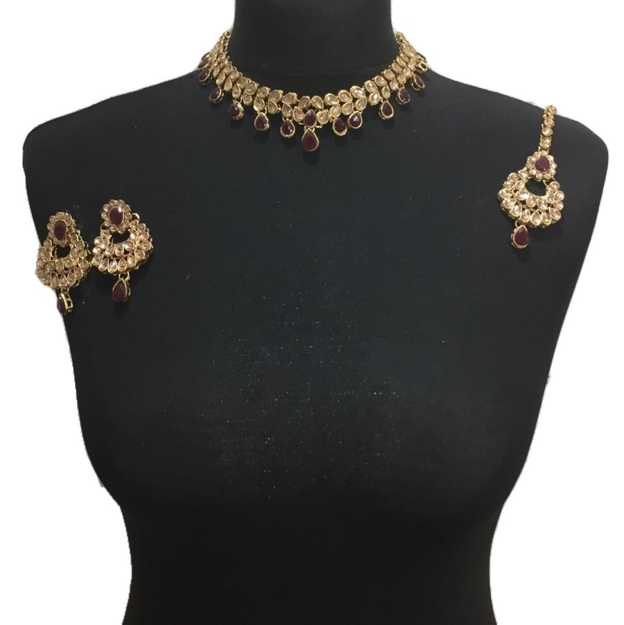 maroon golden necklace set NCK0474