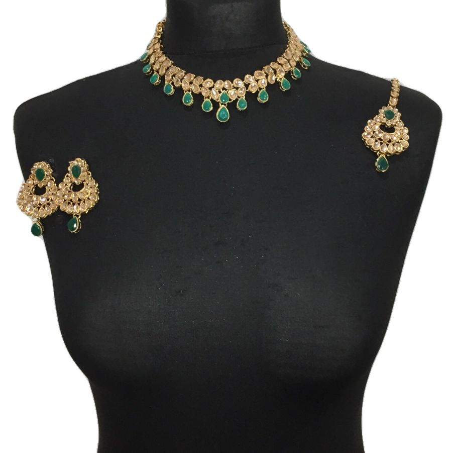 green golden necklace set NCK0475