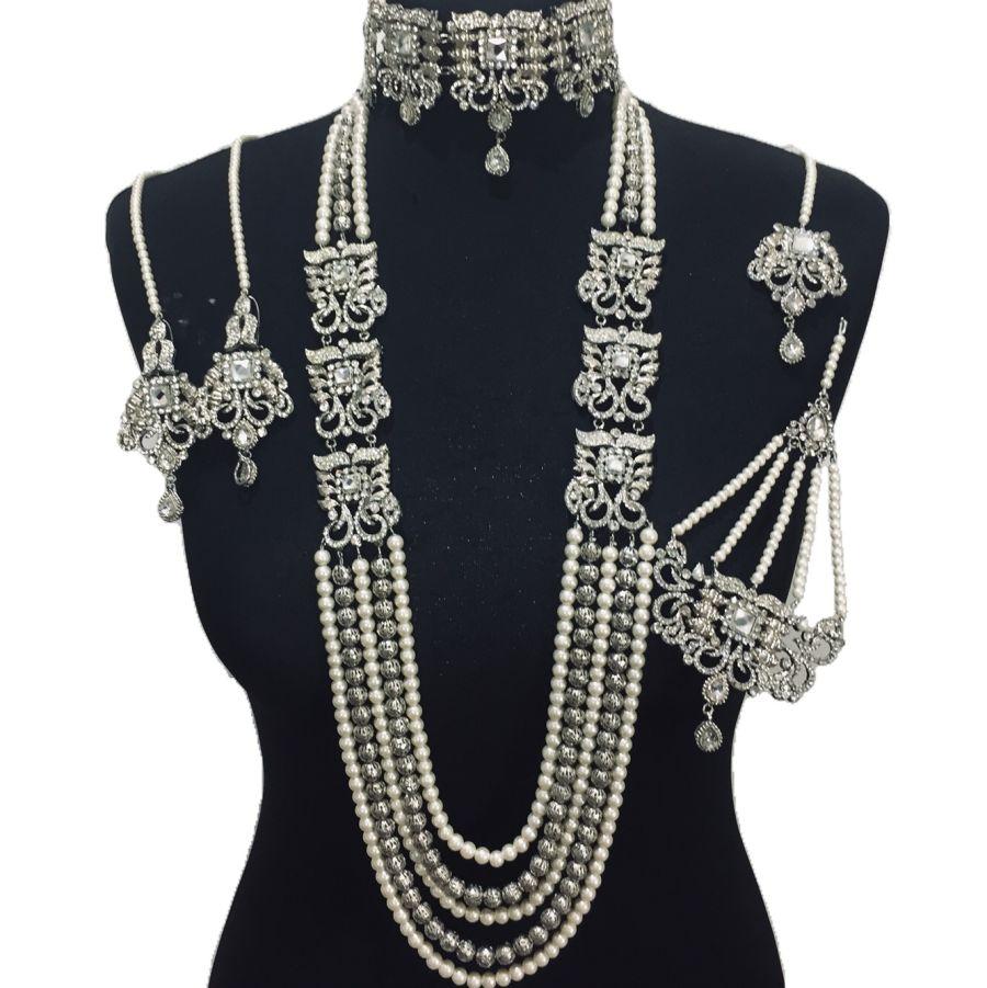 silver choker mala bridal jewellery set BRD0375