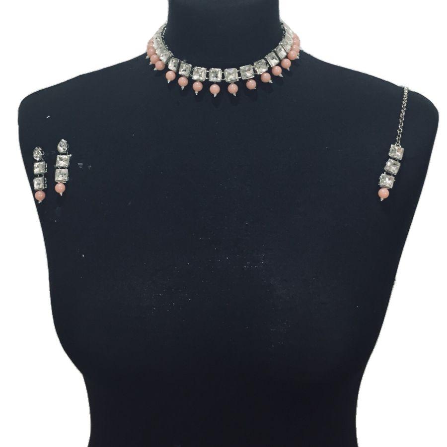 peach silver necklace set NCK0479