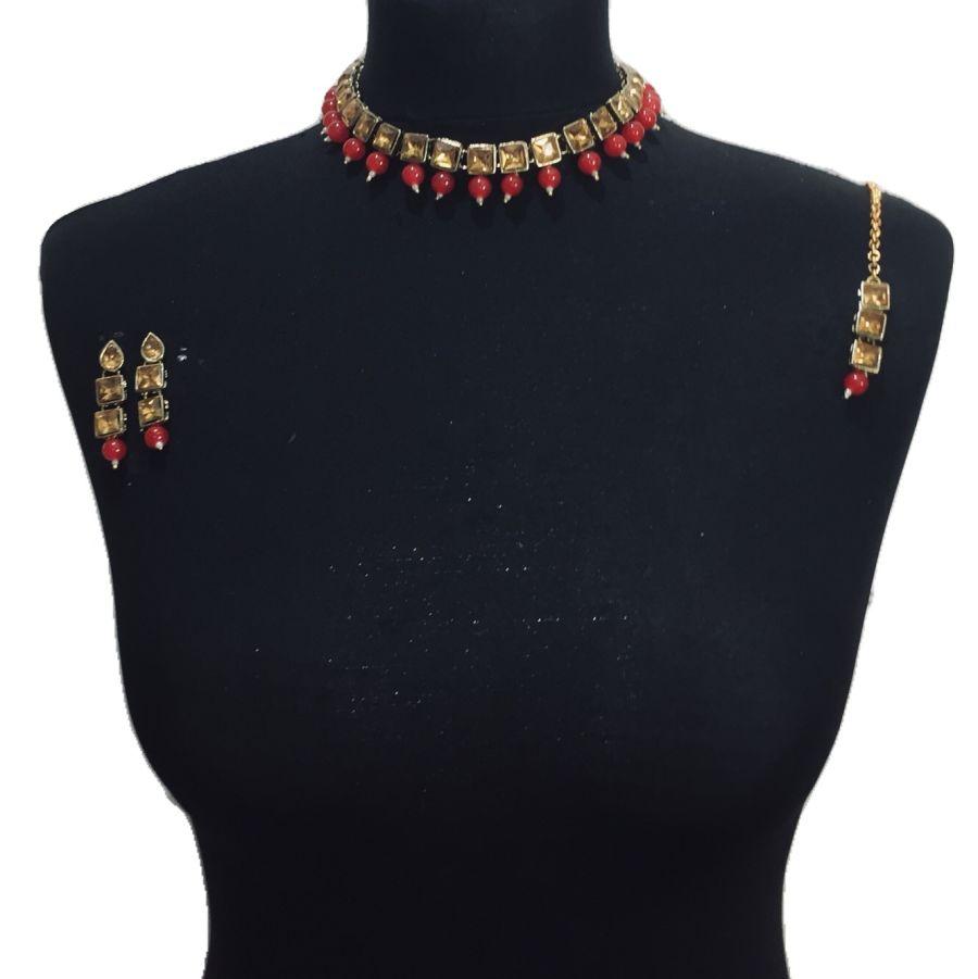 red golden necklace set NCK0482