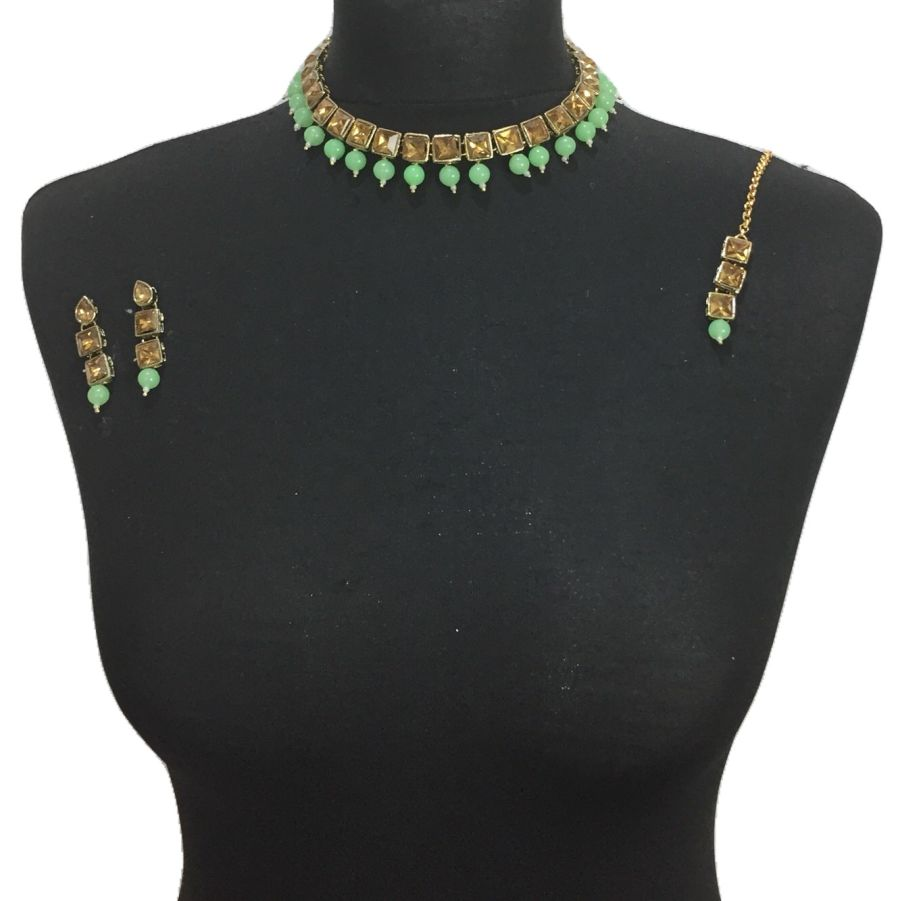 mint green golden necklace set NCK0483