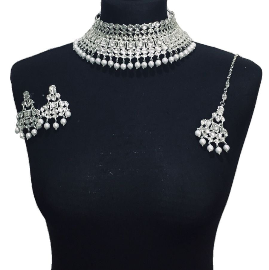 silver kundan style necklace set NCK0490
