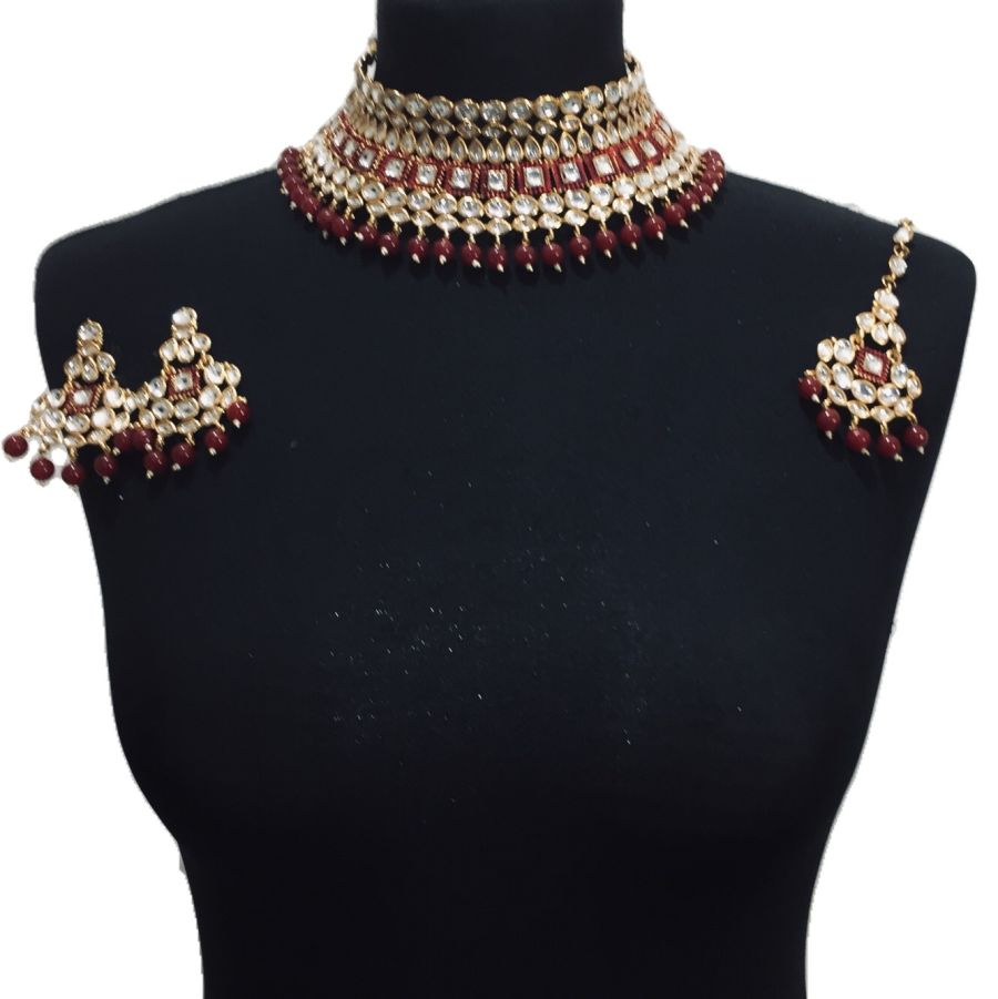 red kundan style necklace set NCK0491
