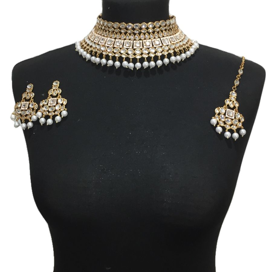 golden white kundan style necklace set NCK0493