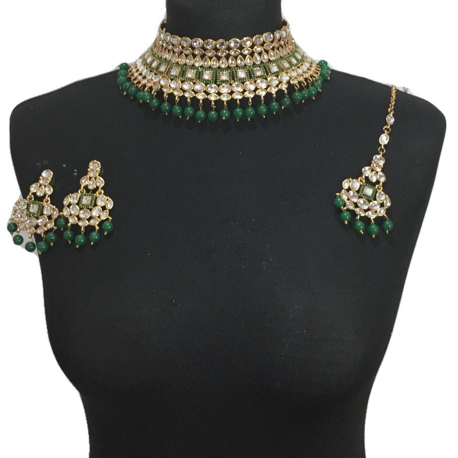 green golden kundan style necklace set NCK0494