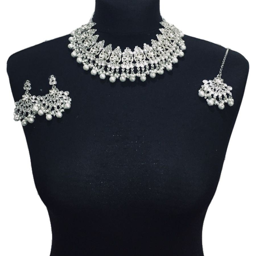 silver necklace set NCK0495
