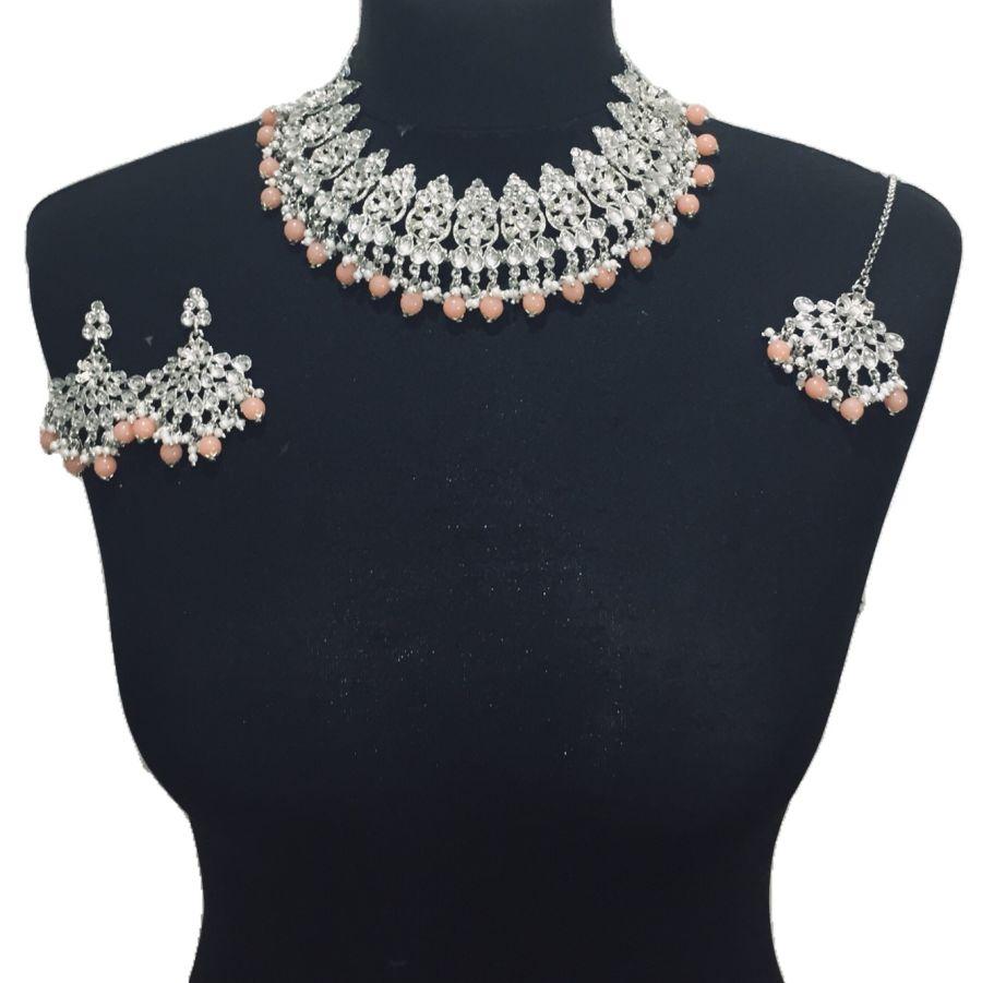 silver peach necklace set NCK0498