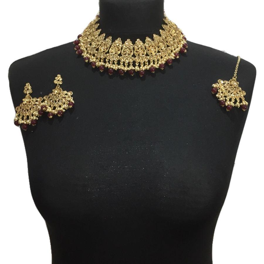 maroon golden necklace set NCK0499