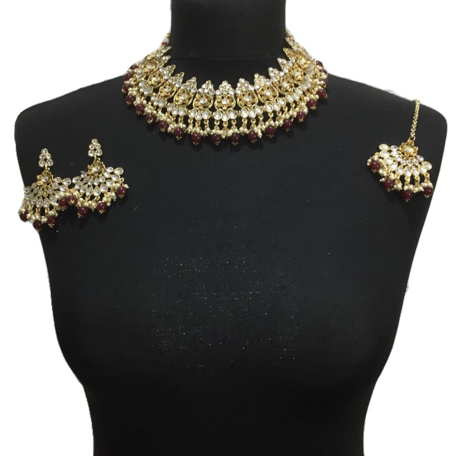 maroon golden necklace set NCK0500