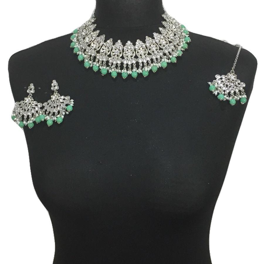 mint green silver necklace set NCK0501