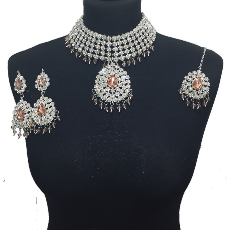 peach silver jewellery set NCK0505