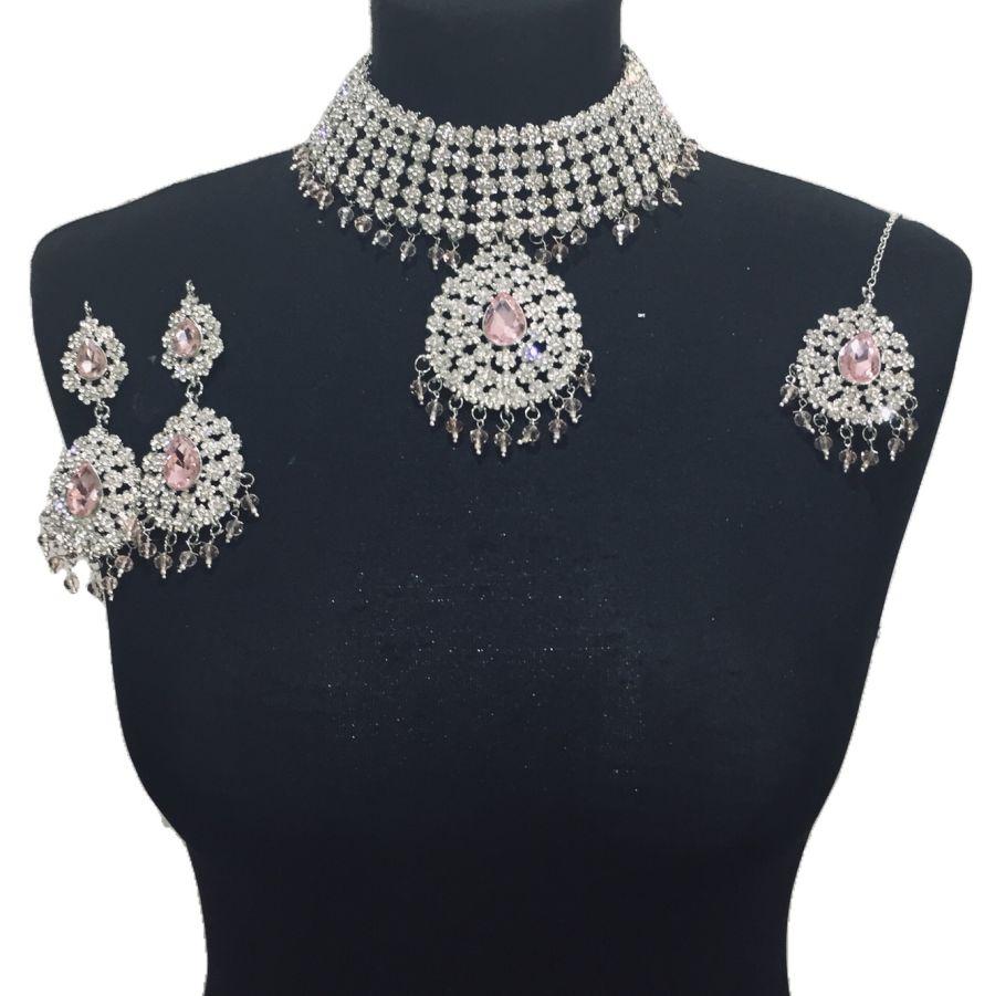 pink silver jewellery set NCK0506