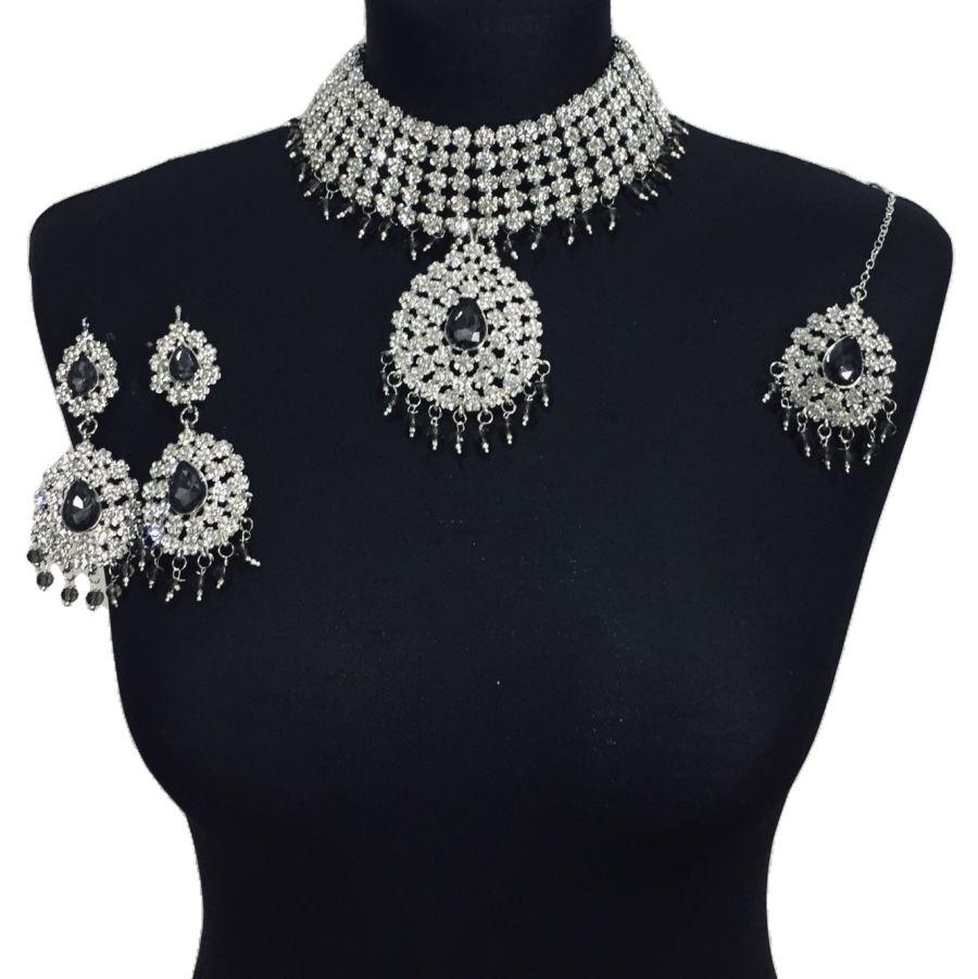 grey silver necklace set NCK0507