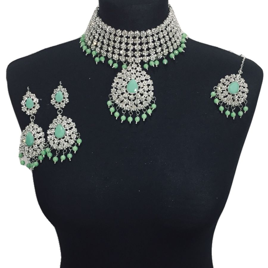 mint silver jewellery set NCK0508