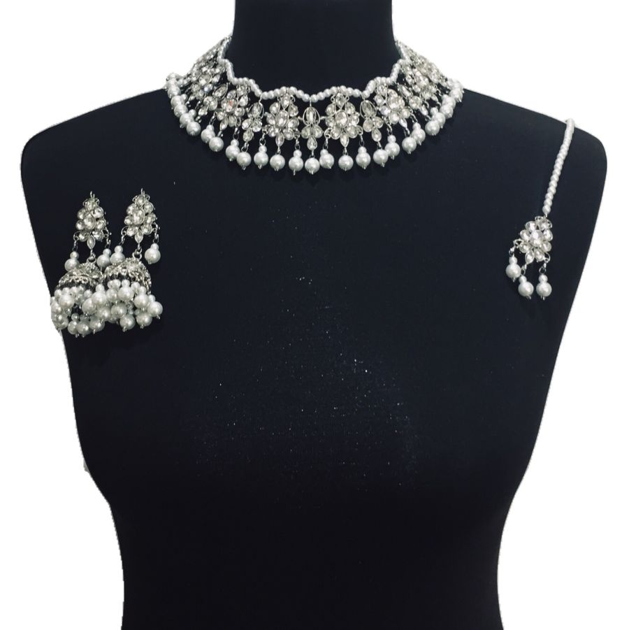 silver pearls necklace set NCK0509