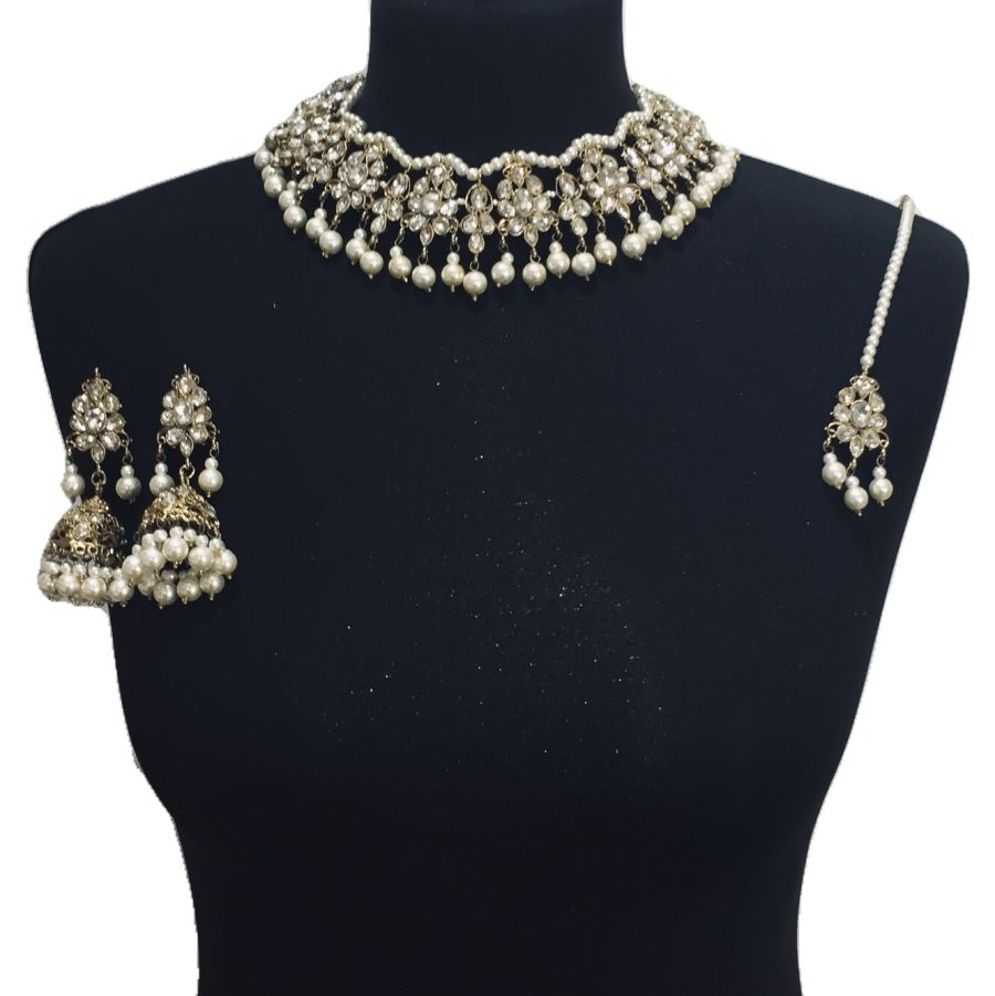golden pearl necklace set NCK0510