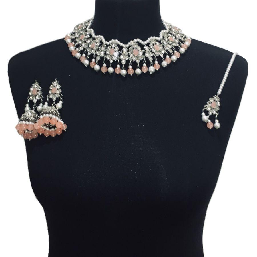 silver peach necklace set NCK0512