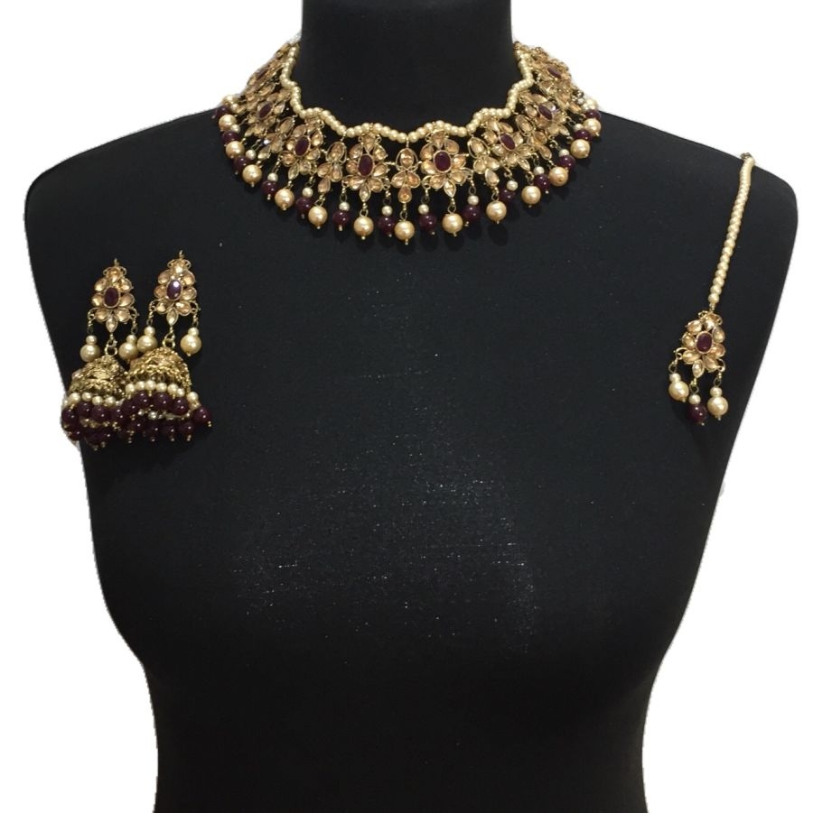 golden maroon necklace set NCK0515