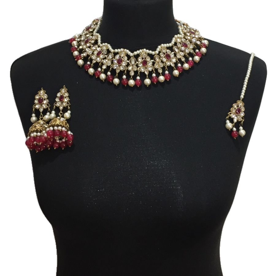 golden red necklace set NCK0516