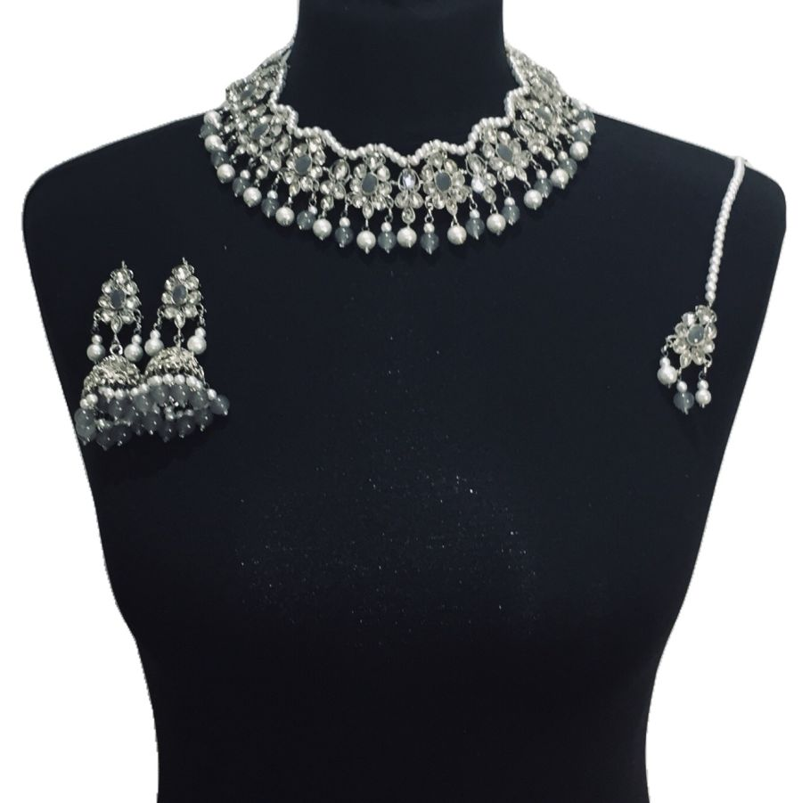 silver grey necklace set NCK0517