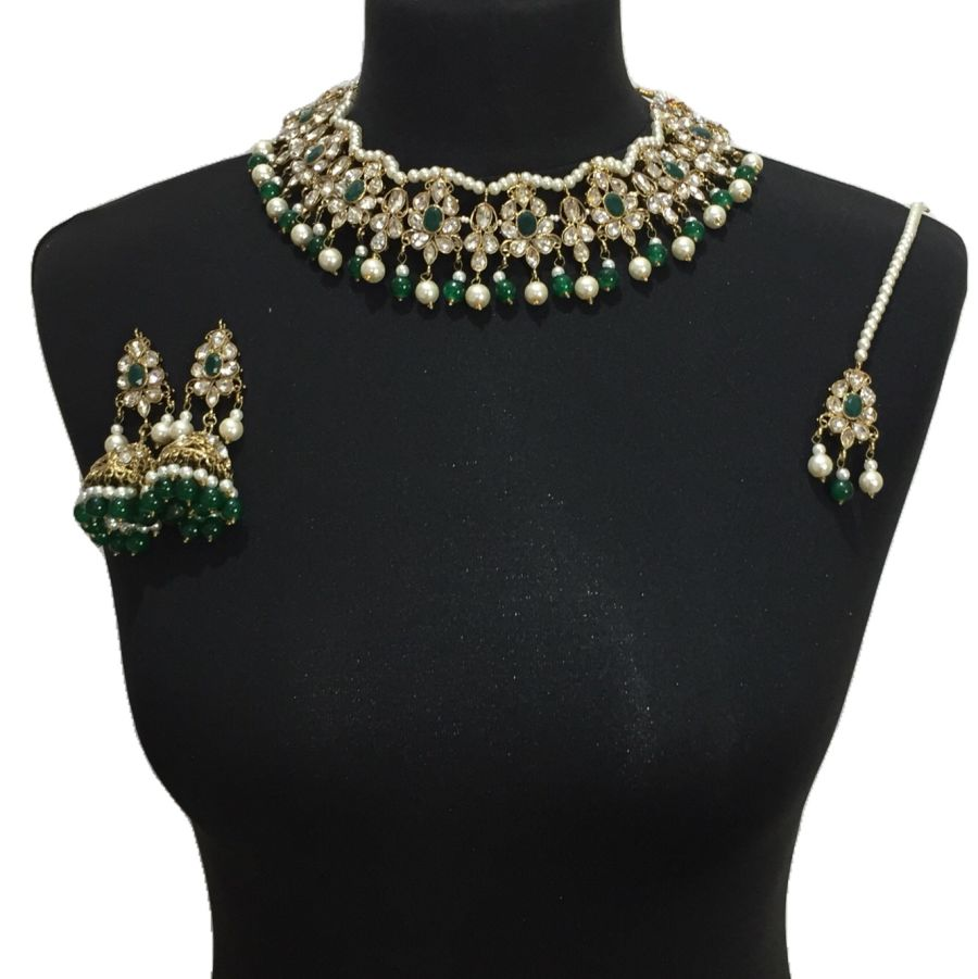 golden green necklace set NCK0519